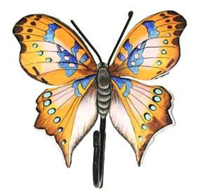 Metal Wall Art Hand Painted Metal Butterfly Wall Hook Metal Art Butterflies Butterfly Decor Butterfly Wall Art Metal Hook Bu 513 H Gl