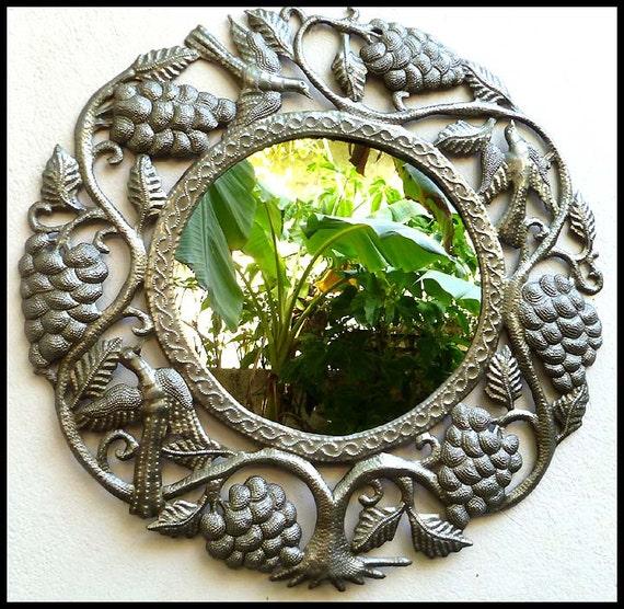 Metal Mirror Mirror Wall Hanging Metal Wall Art Grape | Etsy