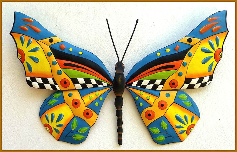 Metal Wall Art Painted Metal Art Garden Decor Butterfly Outdoor Metal Wall Art Garden Art Butterflies Metal Wall Hanging J 0902 Y