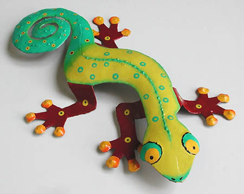Painted Metal Gecko Wall Hanging Outdoor Garden Decor Outdoor Metal Wall Art Metal Art Tropical Wall Decor 13 Metal Wall Art Rm106 Ty