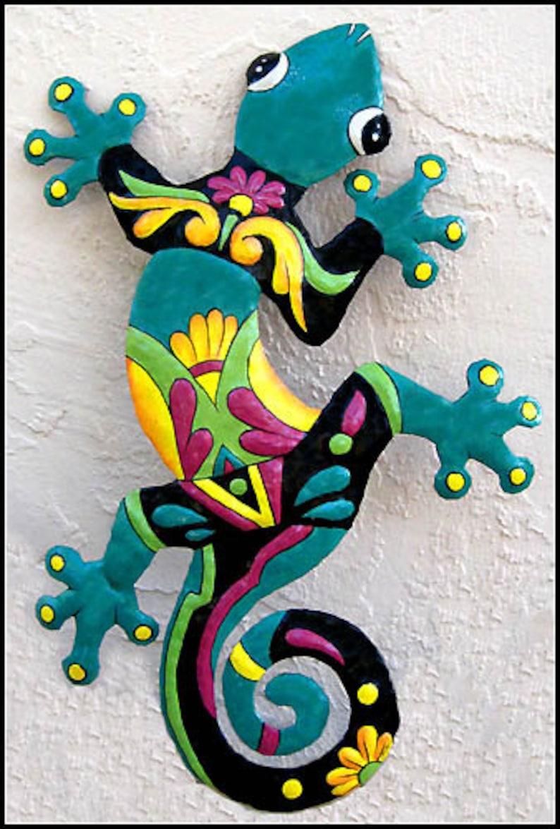 Gecko Wall Art Painted Metal Art Wall Hanging Outdoor Metal Wall Art Tropical Metal Art Wall Decor Outdoor Garden Decor M 402tq