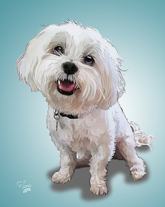Custom digital drawing Customized portrait Pet poster Digital pet portraits 8x10 Personalized dog painting Pet cartoon Printable pet drawing