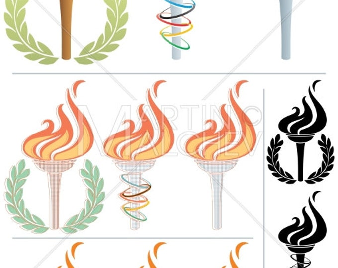 Flaming Torch - Vector Illustration. flame, fire, symbol, sign, icon, sport, games, Olympic, Summer Olympic Games, Winter Olympic Games