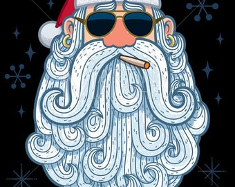 Santa Portrait - Cool - Vector Cartoon Illustration. christmas, santa claus, head, face, cartoon, beard, sunglasses, cigar, cool, vector,