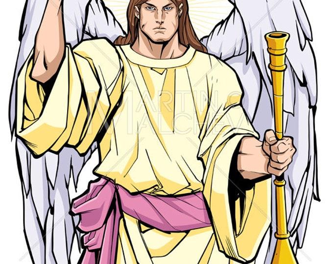 Archangel Gabriel - Vector Illustration. angel, saint, messanger, christian, christianity, hebrew, judaism, jewish, islam, religion, tattoo