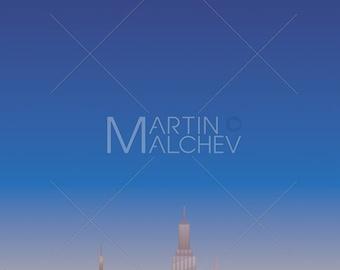 Cityscape Vertical - Vector Illustration. city, skyline, metropolis, background, skyscraper, urban, architecture, landscape, copy space,