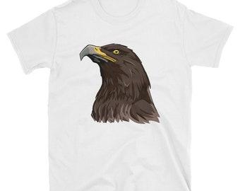 Golden Eagle Short-Sleeve Unisex T-Shirt: head, bird, golden, steppe, brown, hawk, eye, symbol, national, patriotic, german