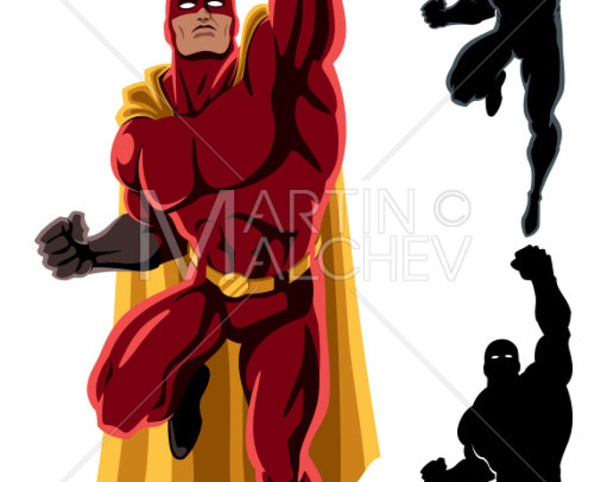 Superhero Flying - Vector Clipart Illustration. super, hero, man, power, speed, silhouette, strength, muscular, body, action, figure, comic,