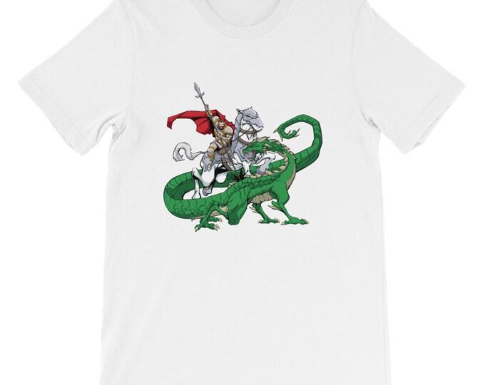 Saint George Slaying the Dragon Short-Sleeve Unisex T-Shirt: warrior, soldier, knight, crusader, roman, greek, military, martyr, patron