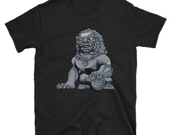 Chinese Lion Iron Short-Sleeve Unisex T-Shirt: guardian, imperial, foo dog, shishi, iron, statue, monument, sculpture, figurine, souvenir