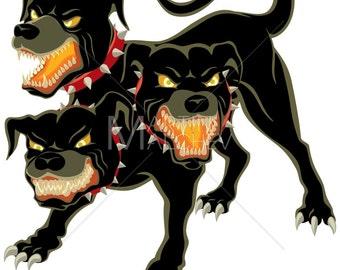 Cerberus - Vector Illustration. dog, monster, evil, guardian, guard dog, creature, character, canine, fairy tale, Greek, mythology, fantasy