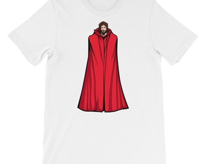 Jesus Superhero Standing Tall Short-Sleeve Unisex T-Shirt: Christ, Jesus Christ, Savior, Christianity, Christian, portrait, super, hero, red