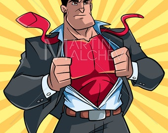 Superhero Under Cover Suit and Ray Light Background - Vector Illustration. super, hero, man, superman, businessman, undercover, costume