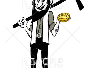 Bitcoin Miner Cartoon - Vector Illustration. crypto, cryptocurrency, currency, digger, prospector, worker, mining, money, digital, internet