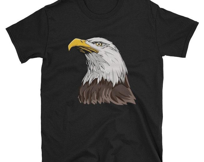 Bald Eagle Short-Sleeve Unisex T-Shirt: head, american, bird, animal, symbol, national, patriotic, patriotism, 4th of july, 4th july, wild