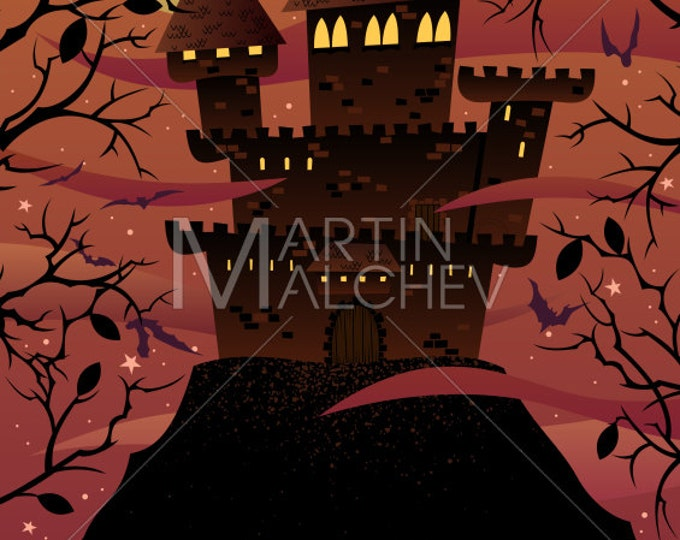 Spooky Castle - Vector Cartoon Illustration. stronghold, fort, flyer, celebration, holiday, Halloween, background, spooky, horror, scary