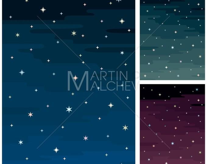 Night Sky - Vector Cartoon Clipart Illustration. stars, background, space, blue, green, purple, clipart, design element,