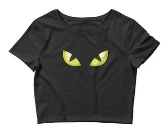 Black Cat Eyes Women's Crop Tee. shirt, tshirt, tee, gift, kitty, face, costume, halloween, bad luck, cat lover, cat person, avatar,
