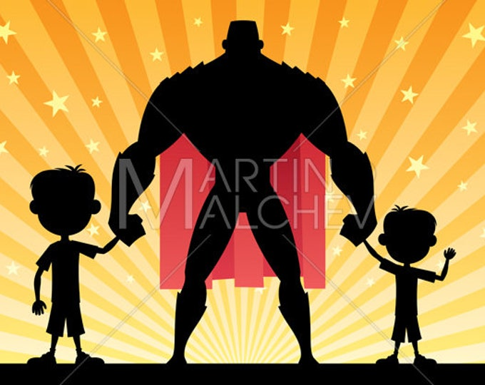 Super Dad with 2 Sons - Vector Cartoon Clipart Illustration. father, daddy, hero, man, superhero, boy, kid, child, son, family, brother,