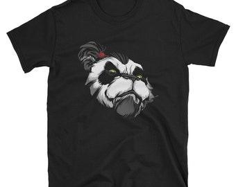 Panda Master Short-Sleeve Unisex T-Shirt: warrior, teacher, master, bear, head, face, portrait, chinese, animal, mammal, proud, powerful