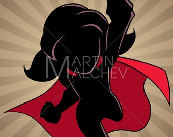 6402346a43 Super Girl Flying Ray Light Silhouette - Vector Illustration. cape