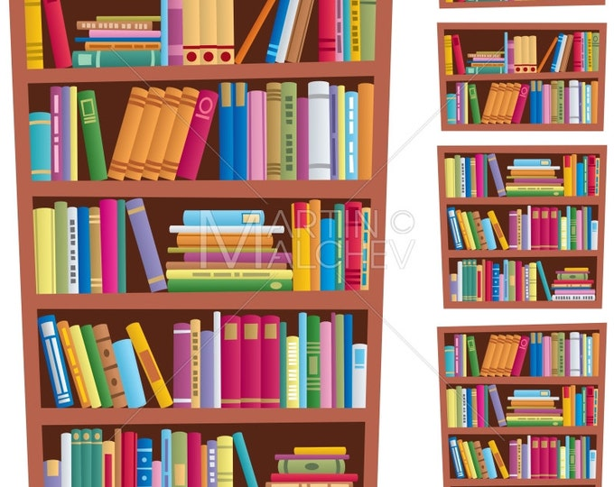 Bookshelf - Vector Clipart Illustration. bookcase, library, book, books, shelf, bookshop, bookstore, archives, information, data, storage,