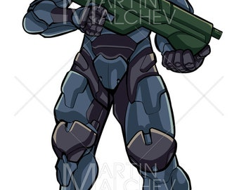 Futuristic Soldier - Vector Illustration. exoskeleton, future, technology, terminator, ai, danger, dangerous, marine, ranger, special forces