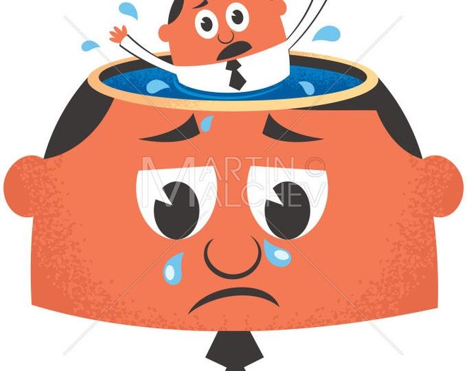 Depression - Vector Cartoon Illustration. sadness, concept, sad, blue, frustration, emotion, mood, depressed, miserable, despair, worry