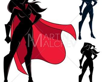 0faf5550ee Superheroine Standing Tall Silhouette - Vector Illustration. superhero