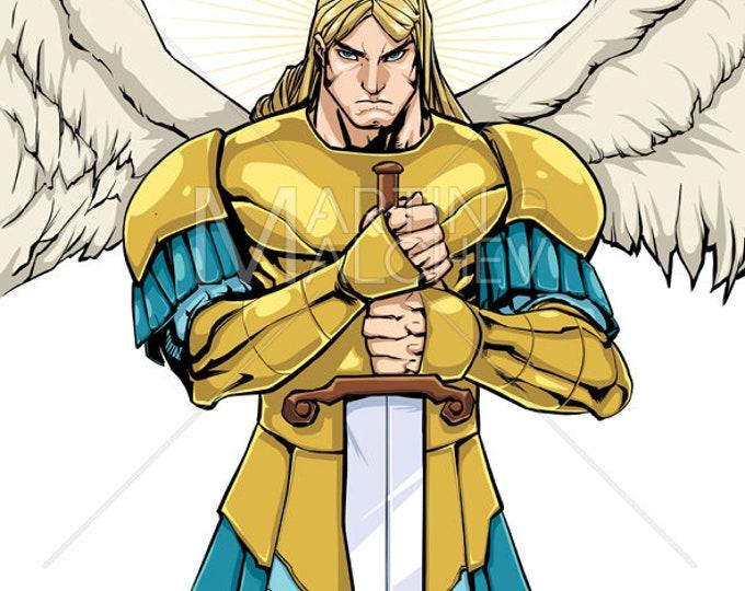 Archangel Michael Portrait - Vector Illustration. angel, saint, icon, christian, christianity, judaism, jewish, islam, religion, tattoo