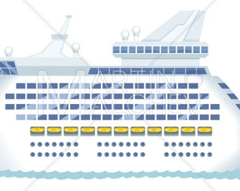 Cruise Ship - Vector Cartoon Clipart Illustration. cruise, ship, passenger ship, yacht, sailing, shipping, vacation, travel, ferry, tourism,