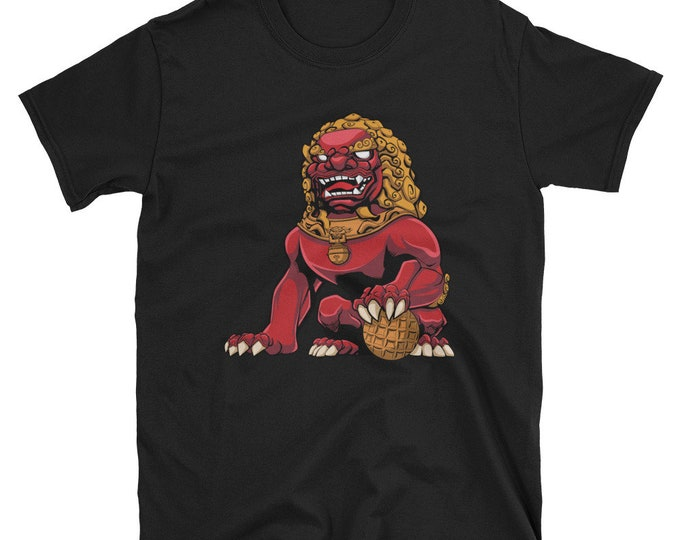 Chinese Lion Red Short-Sleeve Unisex T-Shirt: guardian, imperial, foo dog, shishi, iron, statue, monument, sculpture, figurine, souvenir