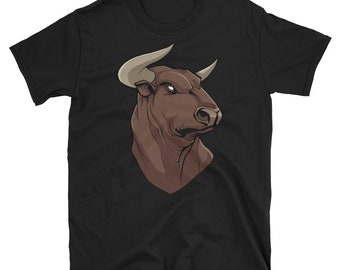 Bull Portrait Short-Sleeve Unisex T-Shirt: head, spanish, animal, symbol, national, patriotic, patriotism, illustration, mascot, freedom,