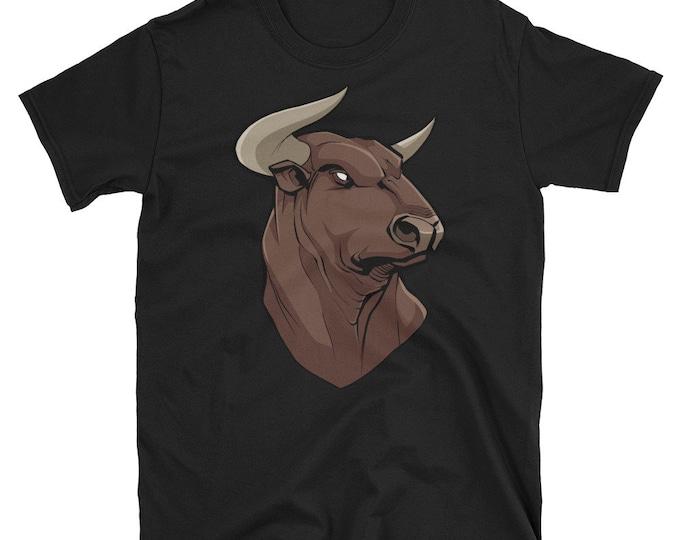 Bull Portrait Short-Sleeve Unisex T-Shirt: head, spanish, animal, symbol, national, patriotic, patriotism, illustration, mascot, freedom,