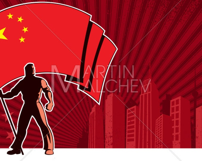 Flag Bearer China Background - Vector Illustration. national, state, Chinese, banner, standard, man, holding, patriotism, old, poster