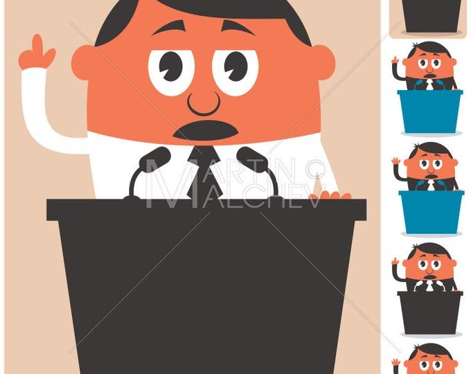 Politician - Vector Illustration. election, ballot, vote, debate, president, minister, prime, senator, mayor, candidate, frontrunner, orator