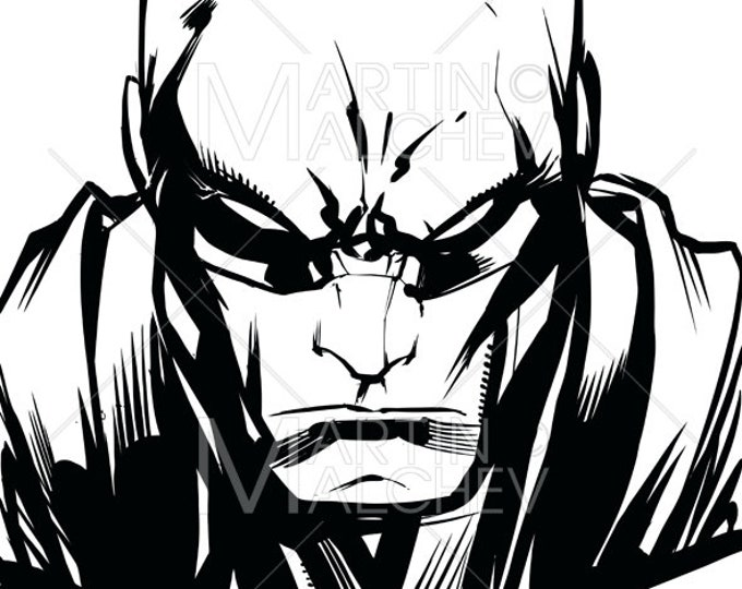 Superhero Portrait Line Art - Vector Cartoon Illustration. hero, character, power, powerful, portrait, hand drawn, looking at camera,