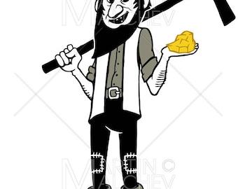 Gold Digger Cartoon - Vector Illustration. prospector, miner, worker, mine, mining, precious, metal, industry, gold nugget,