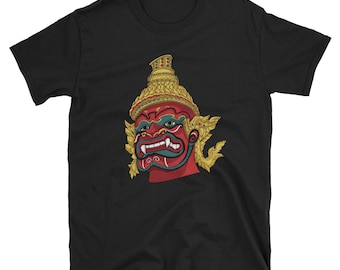 Thai Demon Red Short-Sleeve Unisex T-Shirt: giant, god, guardian, king, monster, thailand, asia, asian, southeast asia, culture, bangkok