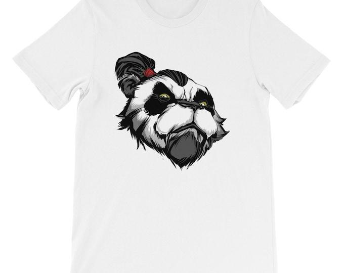Panda Master Short-Sleeve Unisex T-Shirt: warrior, teacher, master, bear, face, portrait, chinese, animal, proud, powerful, kung fu, kungfu