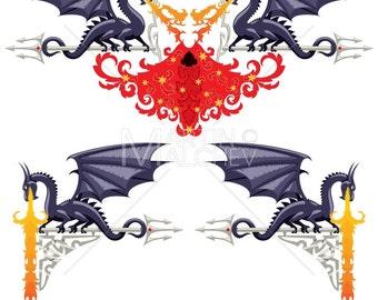 592f392a2f54a Fantasy Floral Borders - Vector Illustration. flower, fairy tale, design,  ornament, element, border, frame, dragon, devil, fire, abstract