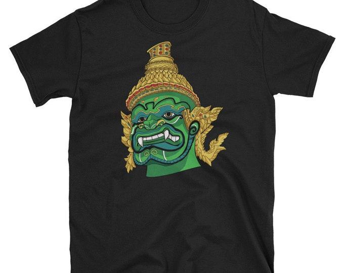 Thai Demon Green Short-Sleeve Unisex T-Shirt: giant, god, guardian, king, monster, thailand, asia, asian, siam, southeast asia, culture