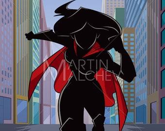 b1ab44b47c Superheroine Running in City Silhouette - Vector Illustration. hero