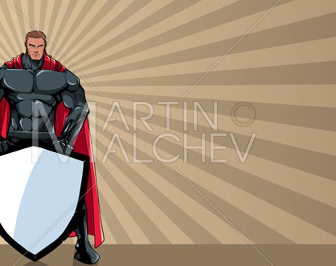 Superhero Holding Shield Ray Light Background - Vector Illustration. super, hero, man, security, ray, light, abstract, sunlight, copy space