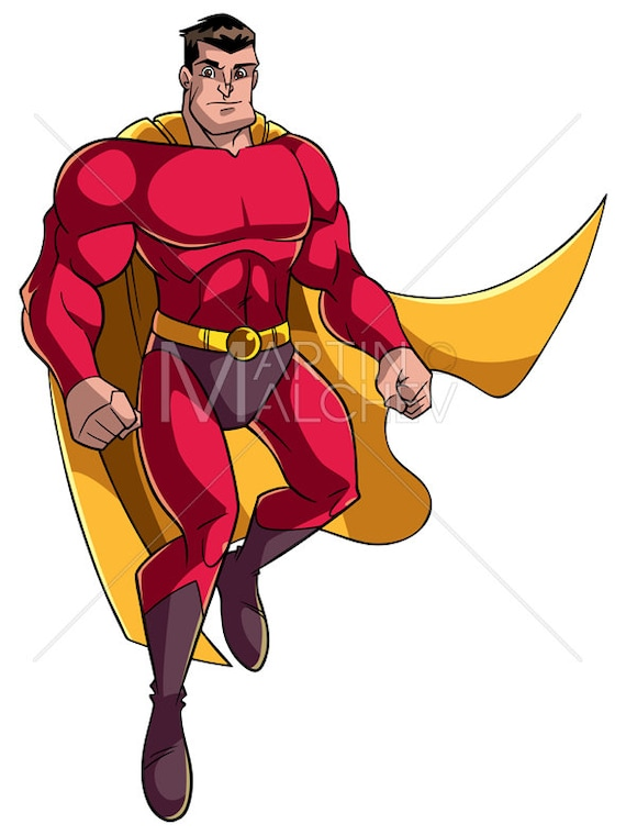Superhero Flying 5 Vector Cartoon Illustration Man Cape Etsy
