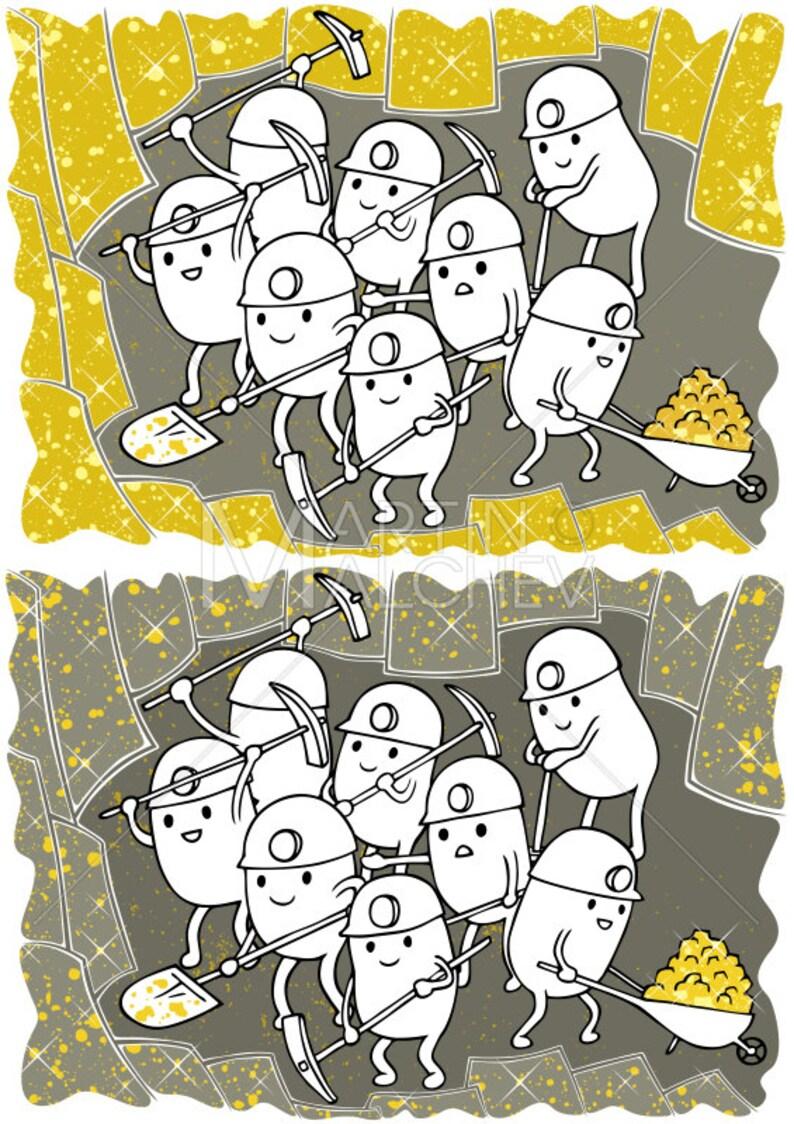 34c666ec43ec1 Gold Mining Vector Cartoon Illustration. mine miner