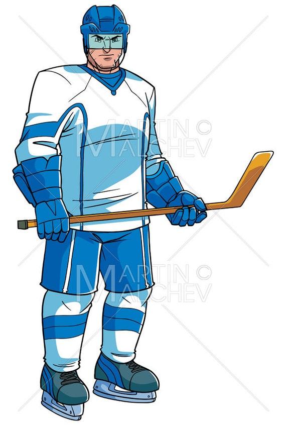 Hockey Player Vector Cartoon Illustration Man Ice Skater Etsy