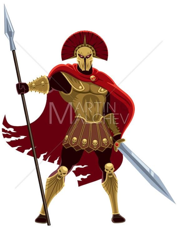 Ares On White Vector Cartoon Illustration Mars God War Roman Greek Mythology Fantasy Religion Ancient Legend Myth Warrior