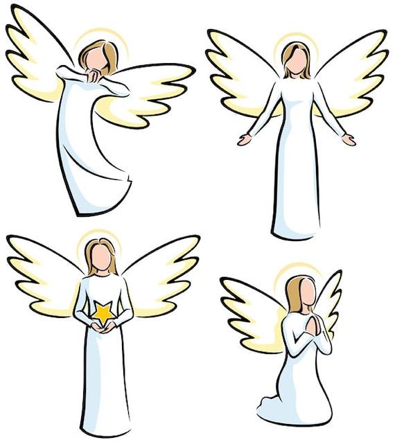 Engel Vektor Cartoon Clipart Illustration Engel Stilisiert Sammlung Religion Christen Christentum Weihnachten Einladend Beten