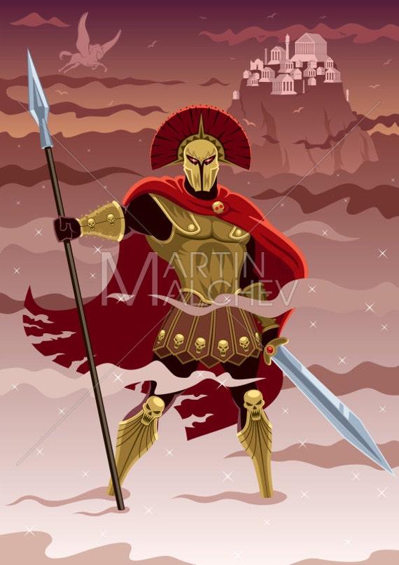 Ares Vector Cartoon Illustration Mars God Lord War Roman Greek Mythology Fantasy Religion Ancient Legend Myth